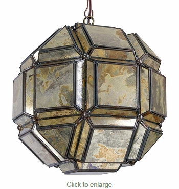 8-Sided Geometric Old Mirror Glass Hanging Light Fixture - 12