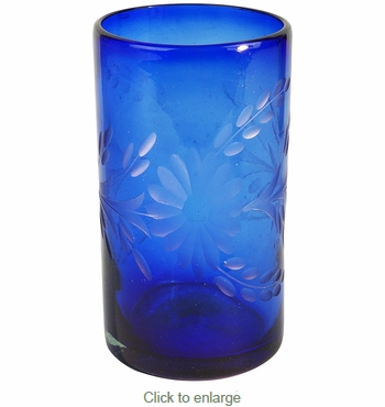 Blue Etched Floral Mexican Highball Glass - Set of 4