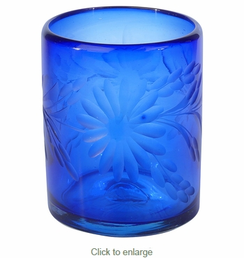 Blue Etched Floral Mexican Rocks Glass - Set of 4