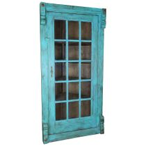 Blue Painted Wood Corner Bookcase with Glass Door