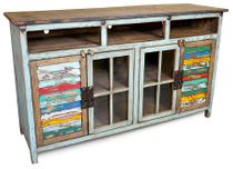 Blue Painted Wood TV Console with Glass and Multi-Color Slat Doors - 60""