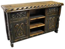 Carved Swan Ox Yoke TV Console - Black