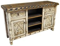 Carved Swan Rustic TV Console - White