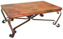 Copper Coffee Table with Scrolled Legs