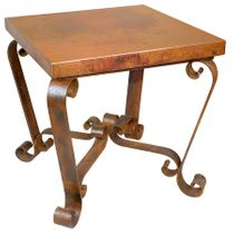 Copper End Table with Scrolled Legs