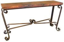 Copper Sofa Table With Wrought Iron Base