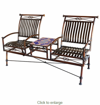 Dual Iron Rocking Chairs with Talavera Tile Table - Terracotta Tile