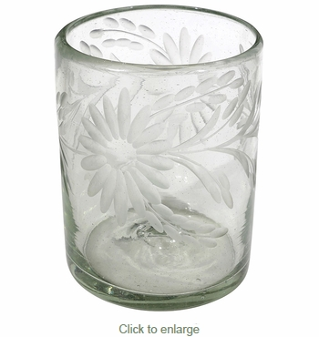 Etched Floral Mexican Rocks Glass - Clear - Set of 4