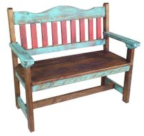 Green Carved Painted Wood Bench