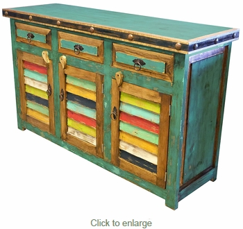 Green Painted Wood Buffet with Colorful Slat Doors