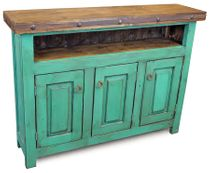Green Painted Wood Skinny TV Entertainment Console