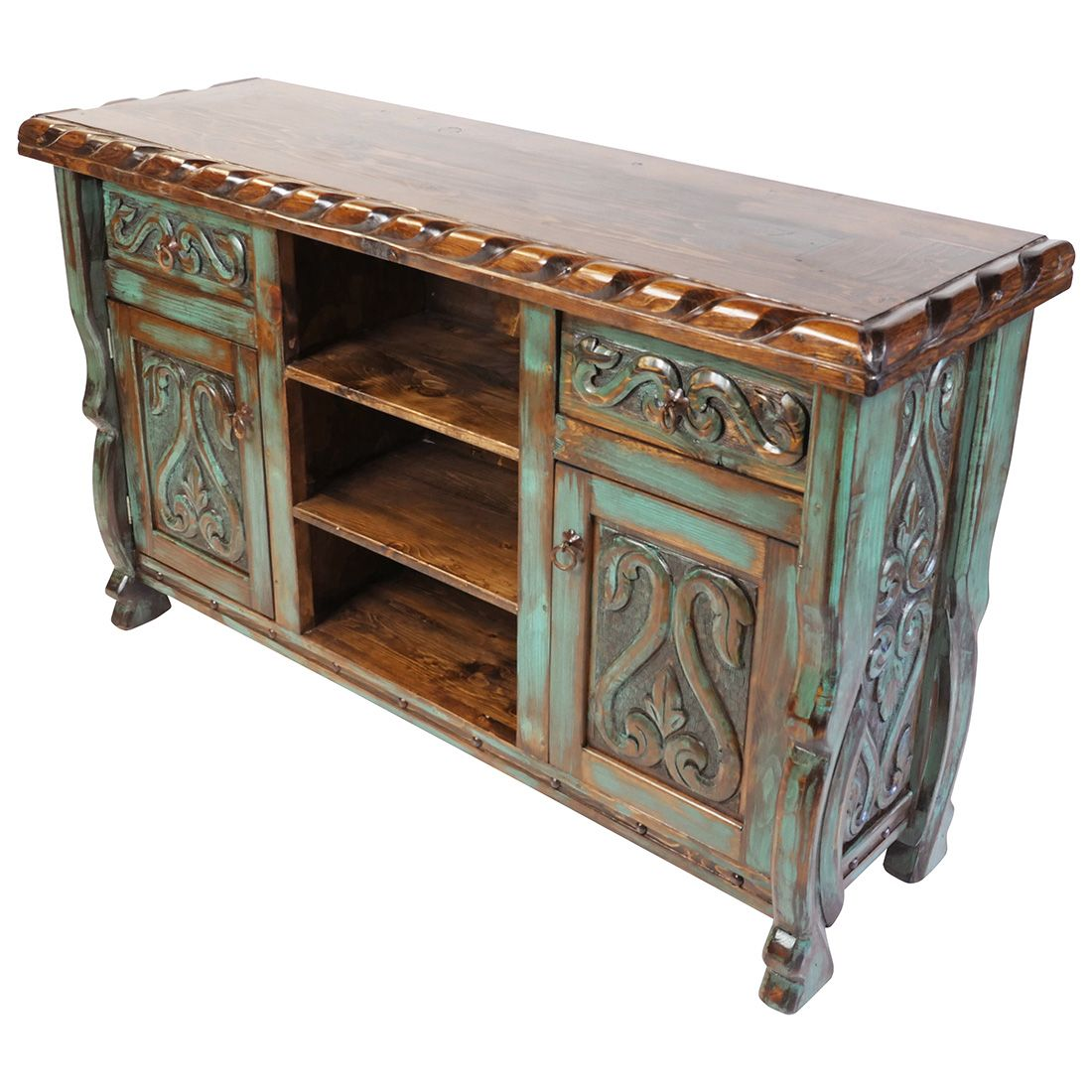 Green Patina Painted Wood Carved Fl Buffet With