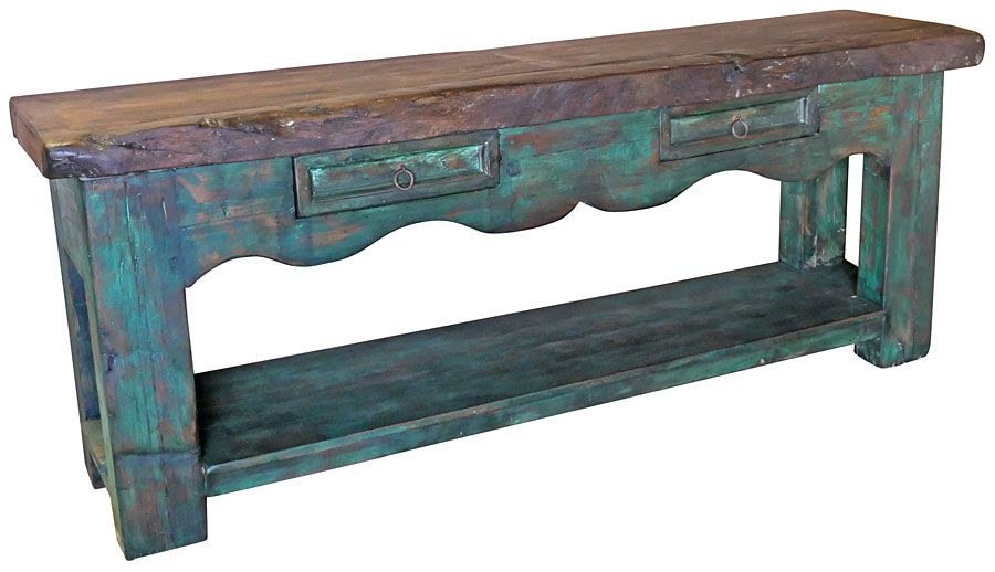Green Patina Rustic Wood Sofa Table With Live Edge Mesquite Top