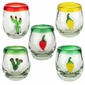 Hand Blown Mexican Shot Glasses with Peppers and Cactus  - Set of 4
