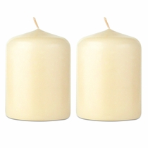 "Ivory Lantern Candles - 2-1/2"" x 2"" Inch Dia.  - Set of 2"
