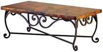 """Large Pio Iron Base Coffee Table with Copper Top - 58"""" x 36"""" x 18"""""""