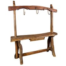 Mesquite Entry Table with Rustic Ornamental Hooks