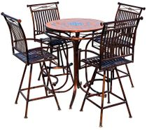 """Metal and Tile Top Bistro Table Patio Set with Four Swivel Bar Stools - 36"""" Diameter"""