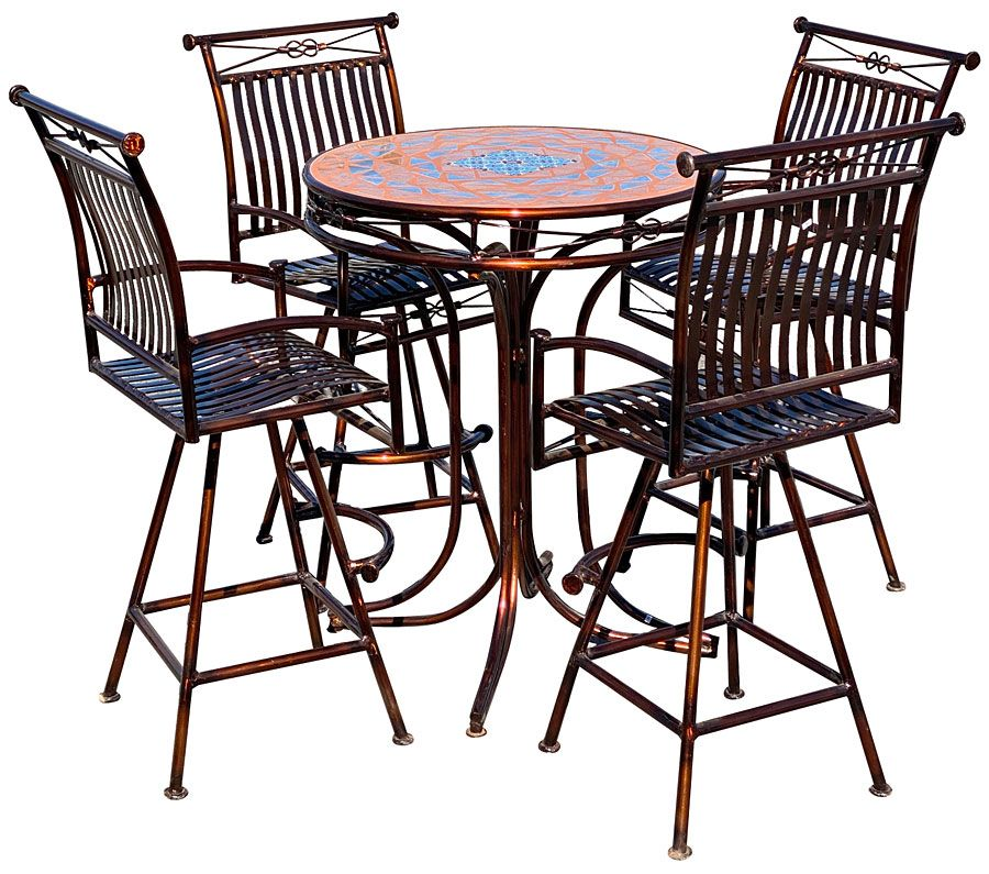 Metal And Tile Top Bistro Table Patio, Bar Top Patio Furniture