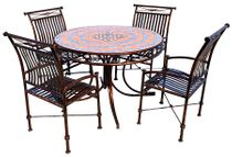 """Metal and Tile Top Patio Dining Table Set with Four Chairs - 48"""" Diameter"""