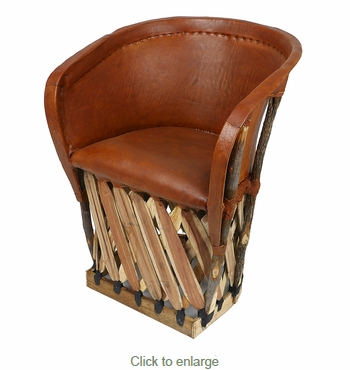 Mexican Equipale Barrel Chair with Padded Seat