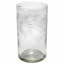 Mexican Etched Floral Highball Glasses - Clear - Set of 4