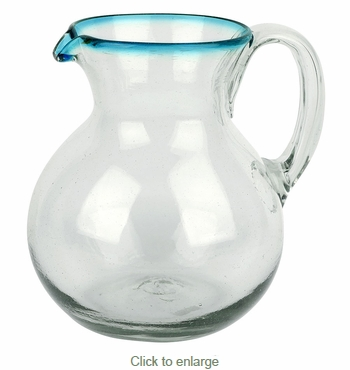 Mexican Glass Margarita Pitcher with Turquoise Rim