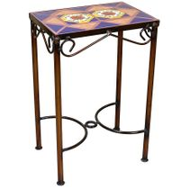 "Mexican Iron Side Table with Talavera Tiles - 14"" x 10"""