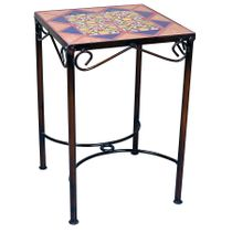 "Mexican Iron Side Table with Talavera Tiles - 14"" x 14"""