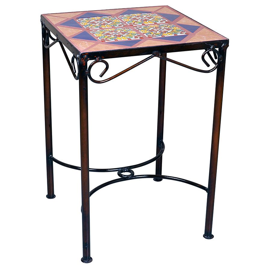 Mexican Iron Side Table With Talavera Tiles 14 X 14
