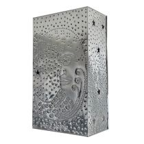 Mexican Natural Punched Tin Moon Face Wall Sconce