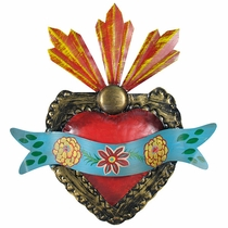 Mexican Painted Tin Ribbon Sacred Heart 3D Wall Art