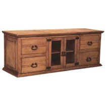 "Mexican Pine Lowboy Dresser and TV Console with 2 Doors and 4 Drawers - 63"" W x 23.75"" H"