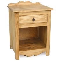 Mexican Pine Nightstand with Backsplash, 1 Drawer and Open Shelf