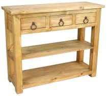 Mexican Pine Sofa Table With 3 Drawers and Double Lower Shelves