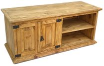 "Mexican Pine TV Console with 2 Doors and Shelves 46.5"" W x 19.5"" H"
