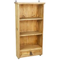 Mexican Rustic Pine Bathroom Hanging Wall Shelf with Drawer