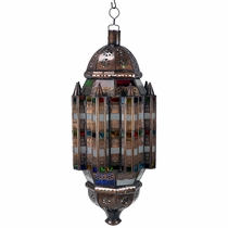 Moroccan Aged Tin and Colored Glass Hanging Light Fixture