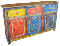 Multi-Colored Painted Wood Buffet