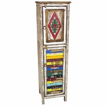 Narrow Painted Wood Cabinet with Carving & Multi-Color Slat Door