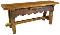 Old World Rustic Console Table with Scalloped Front