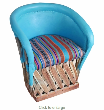 Painted Equipale Barrel Chair with Upholstered Seat