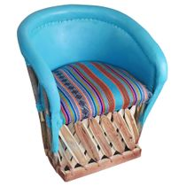 Painted Equipale Lounge Chair with Upholstered Seat