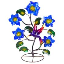 Painted Metal Flowers with Hummingbird - Small