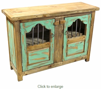 Painted Wood Buffet with Iron Bars