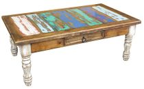 Painted Wood Coffee Table with White-Washed Turned Legs and Multi-Color Top
