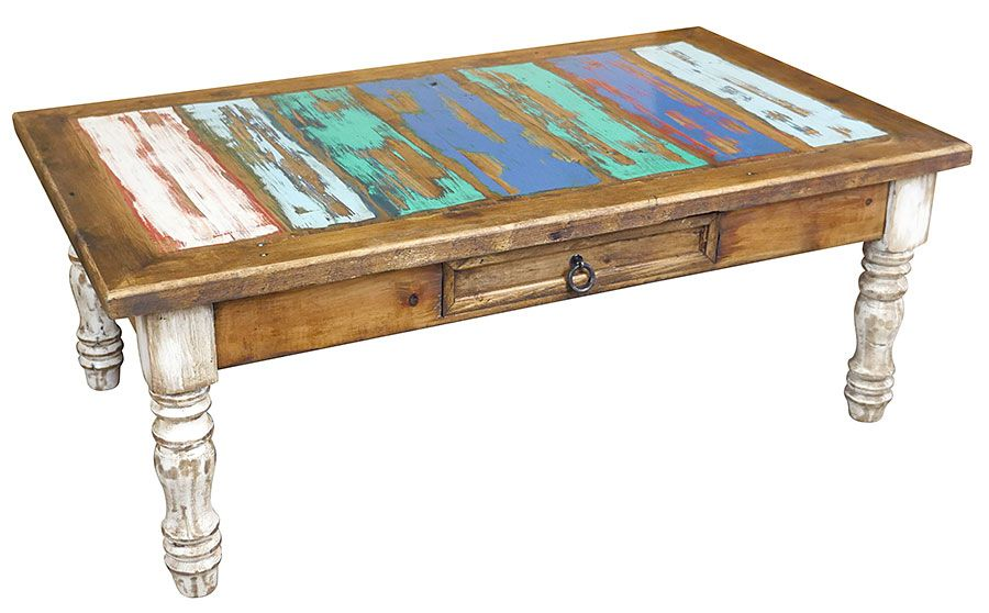 Painted Wood Coffee Table With White Washed Turned Legs And Multi