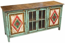 Painted Wood Console with Floral Etchings & Glass Doors