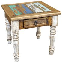 Painted Wood End Table with White-Washed Turned Legs and Multi-Color Top