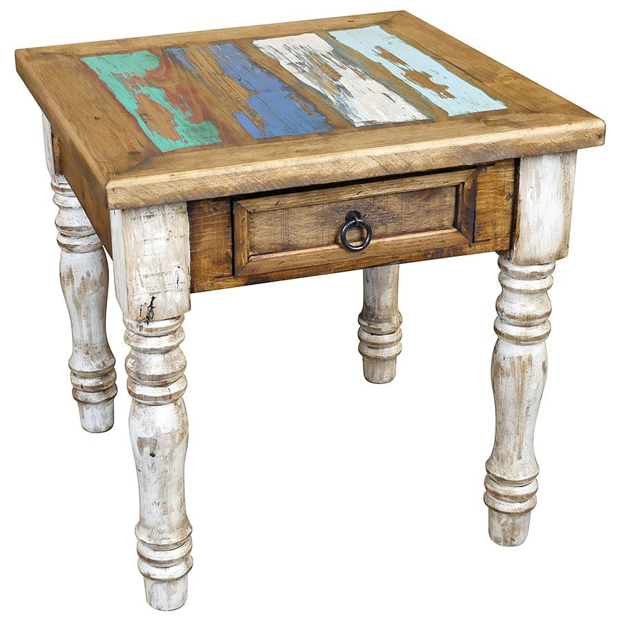 Painted Wood End Table With White Washed Turned Legs And Multi Color Top